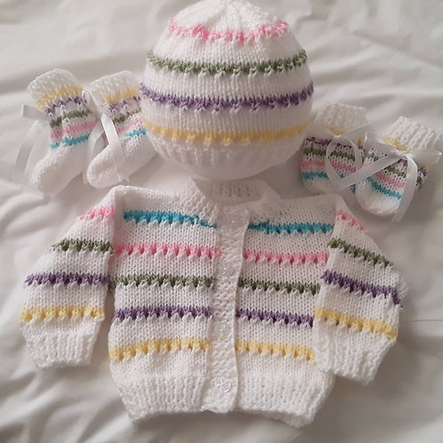 Option 27 Candy stripes cardigan, hat. mittens and boots