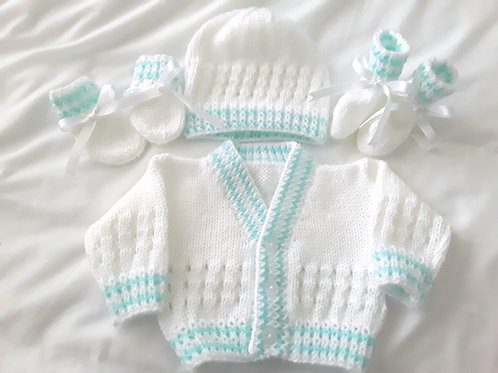 Option P eyelet cardigan,hat, boots & mittens