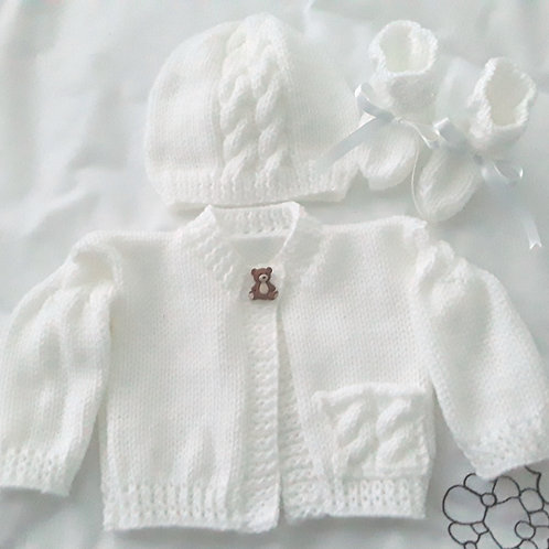 Option N24 cabled pocket & sleeve cardigan,hat & booties
