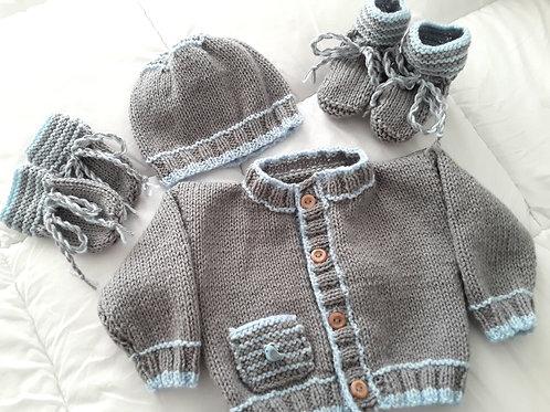 Option G pocket cardigan, hat, mittens & boots