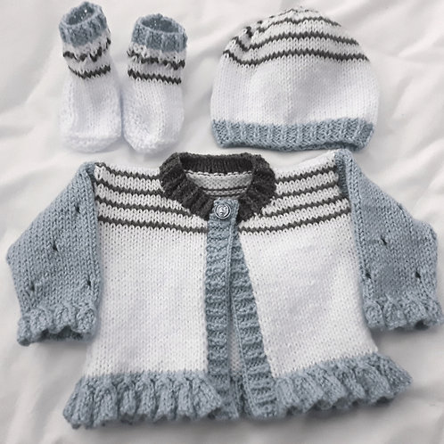 Option 27 Stripe & frills cardigan with boots & hat