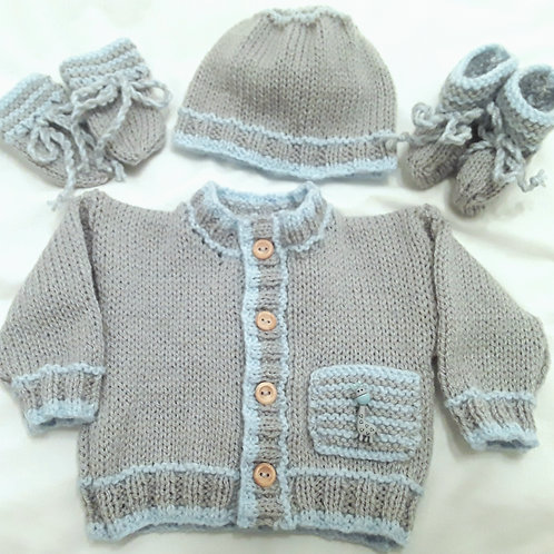 Option B pocket cardigan, hat, mittens & boots