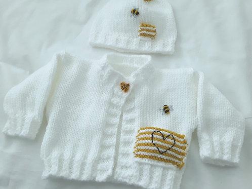 Option N10 Bumble bee cardigan & hat