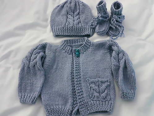 Option R cable cardigan, hat & boots