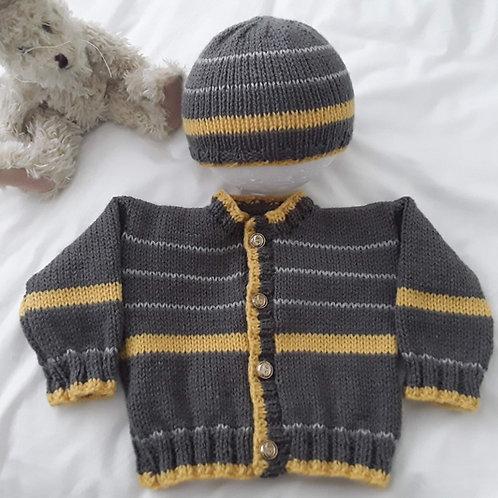 Option M Charcoal & stripe cardigan & Hat