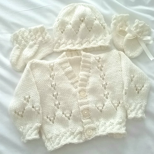 Option N25 lace & cable cardigan, hat, mittens & boots