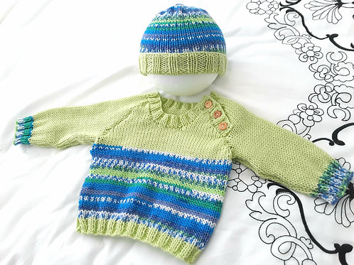 Option W Raglan fairisle sweater with hat