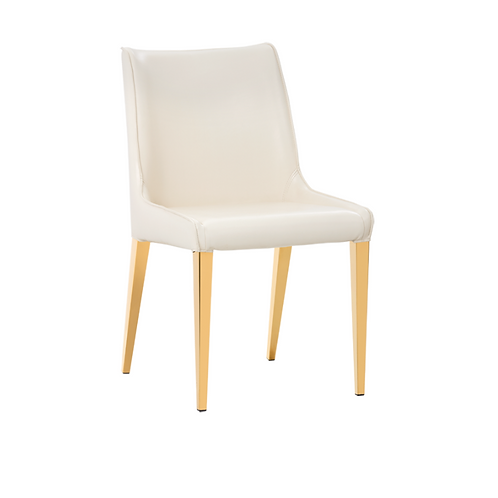 CREAM LEATHER & GOLD DINING CHAIR