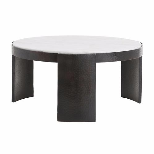 ROUND MARBLE & IRON COFFEE TABLE