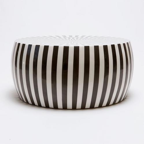 BLACK & WHITE STRIPED RESIN COFFEE TABLE