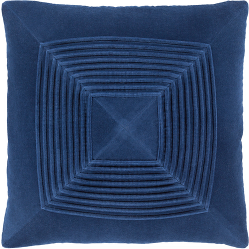NAVY CONCENTRIC SQUARES PILLOW