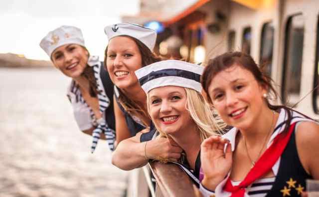 Sailor girls aboard the Burlesque Showboat, Melbourne
