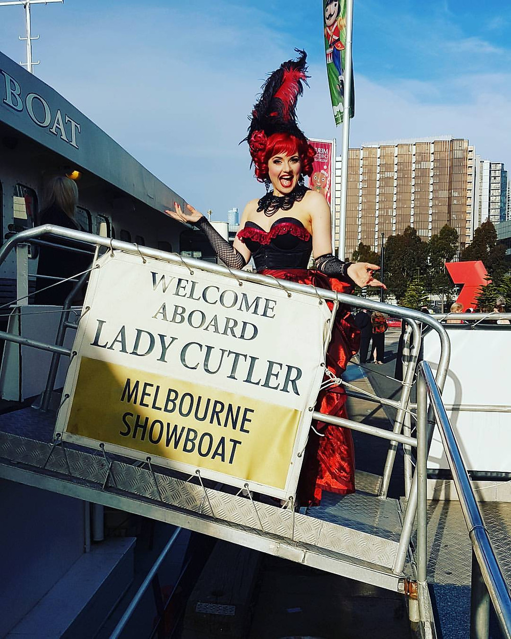 Madame Poppy on board the Burlesque Showboat, Melbourne