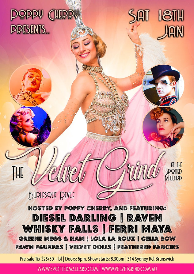 The Velvet Grind Melbourne Burlesque Show Poster
