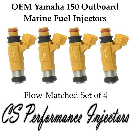 FLOW MATCHED Marine Yamaha Outboard F150 HP Fuel Injector Set (4) 63P1376100
