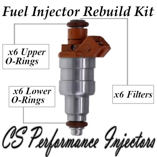 Fuel Injectors Rebuild Repair Kit fits 33007127 for 1991-1993 Jeep 4.0L I6 4.0