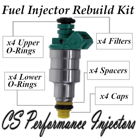 Bosch 0280150357 Fuel Injectors Rebuild Kit for 84-91 Volvo 2.3L I4 Green Top