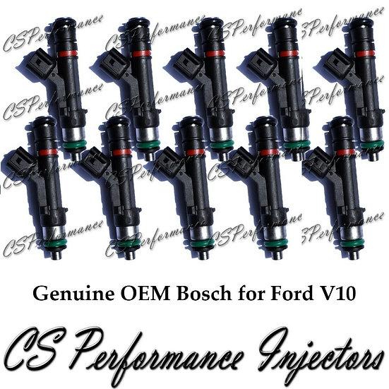 OEM Bosch Fuel Injectors Set (10) 0280158064 for 10-18 Ford Super Duty 6.8 V10