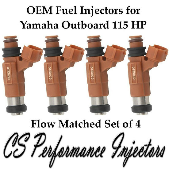 OEM Bosch Marine Fuel Injectors (4) INP771 CDH210 for Yamaha Outboard 115 HP
