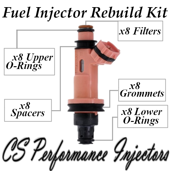 Fuel Injectors Rebuild Repair Kit fits 23250-50030 for 98-10 Lexus 4.0L 4.3L V8