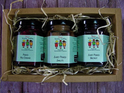 Pickles Gift Set with handmade pickles by Three Fruity Ladies