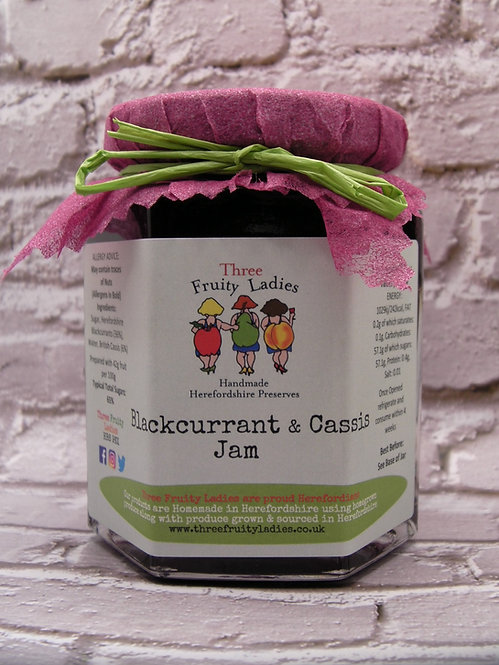 Blackcurrant and British CASSIS Jam handmade by Three Fruity Ladies
