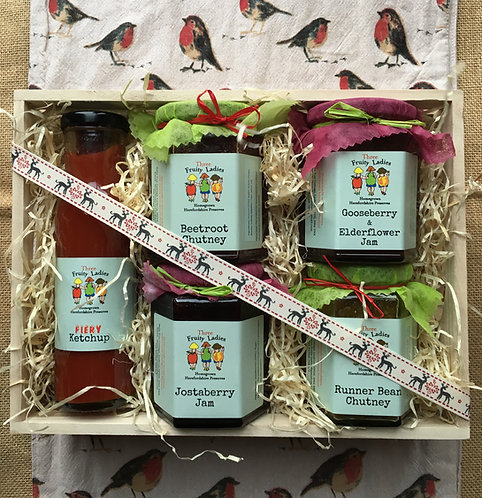 Three Fruity Ladies Large Gift Crate beautifully presented with homemade preserves