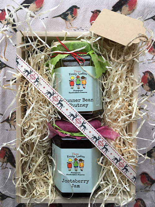 Three Fruity Ladies Small Gift Crate with two jars
