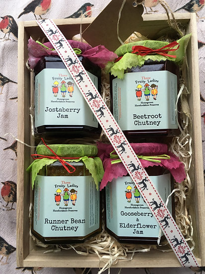 Medium Gift Crate with four jars of yummyness from Three Fruity Ladies