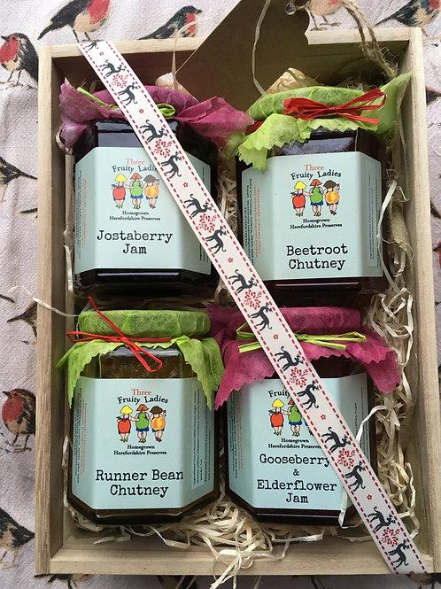 Medium Gift Crate with four jars of yummyness from the Fruity Ladies