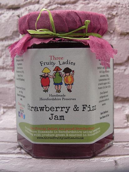 Strawberry and Fizz Jam handmade by Three Fruity Ladies