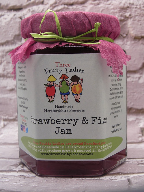 Strawberry and Fizz Jam handmade by Three Fruity Ladies