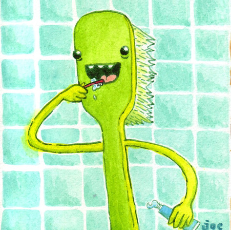 In addition to building and performing puppets, I love to draw and paint- these doodles could always end up being concept work for future puppets. This toothbrush is one of my favorites of my own work.