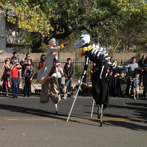 I did not design the head of this beast, but it was a ton of fun to run around and bark at the kiddos during the Dia de los Muertos parade in Albuquerque, NM with qStaff Theater.