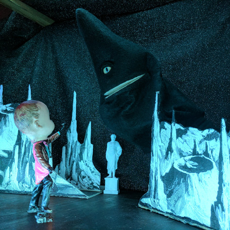 Brainstorming future Hands of Enchantment puppet theater shows utilizing Michael Serwich's beautiful puppet theater and stage elements.