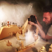 some productions call for stop motion and experimental video sequences. Always a good time. Hands of Enchantment partner Michael Serwich had many of these miniatures in his personal collection, and they made for quite a scene.