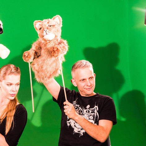 Puppeteering with Nicolette Santino on the Kitty Puppy Cat music video for Laser Fun Beam