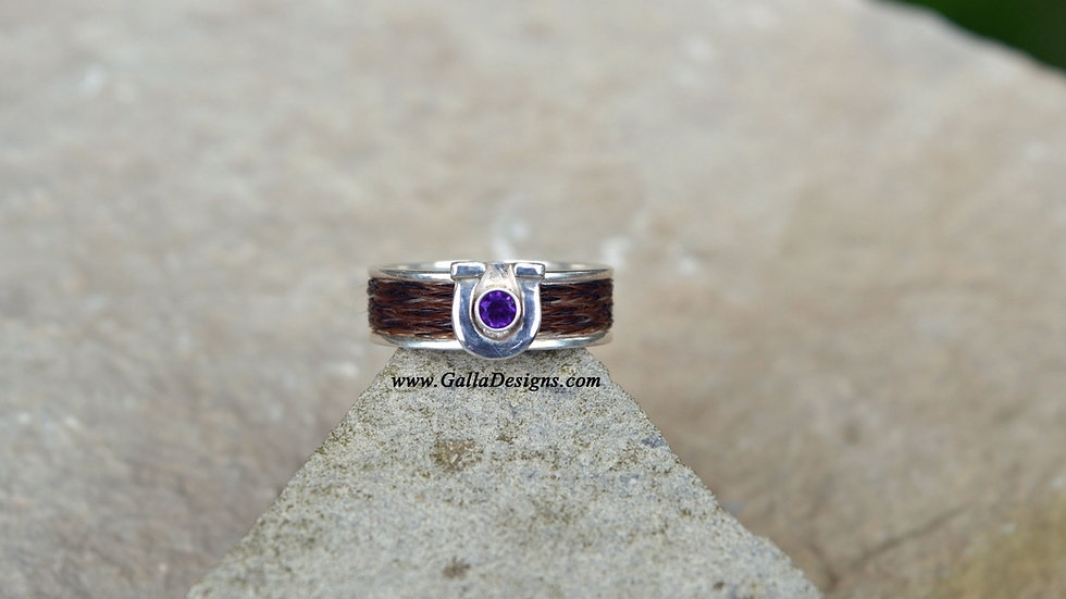 Woven Ring - horseshoe with Stone