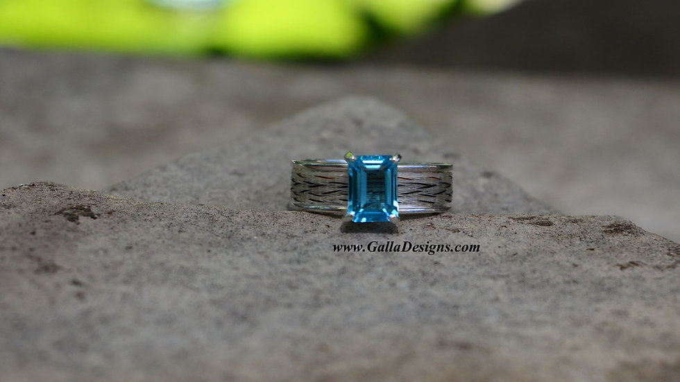 Woven Ring - Rectangle Stone