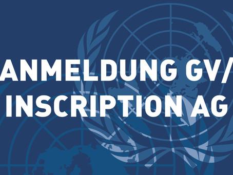 Anmeldung Generalversammlung / Inscription Assemblée générale