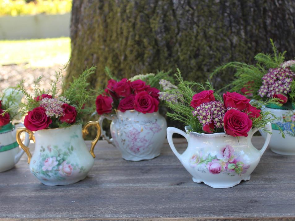 Floral china flower vessels