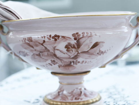 Pink handpainted flower vessel