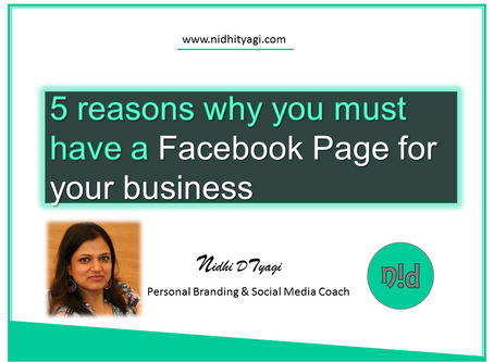 5 reasons why you must have a Facebook Page for your business