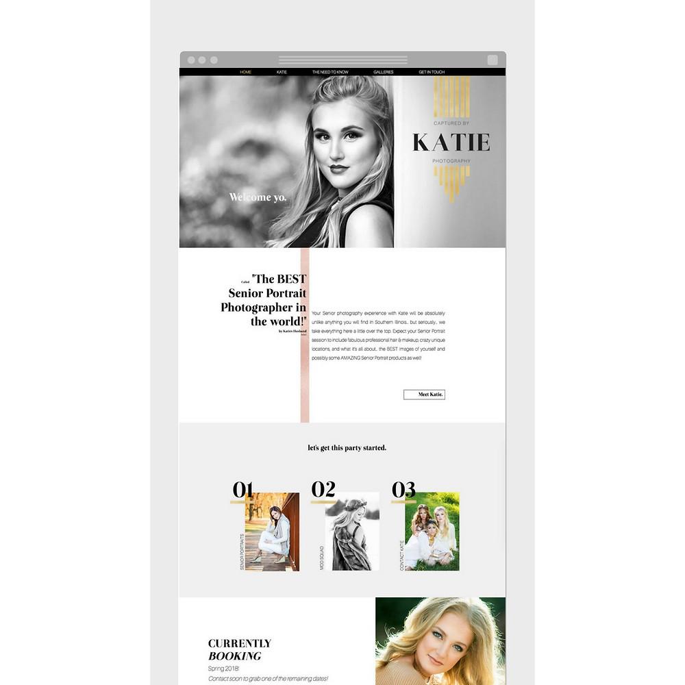 Wix website design for Captured by Katie by Bridgette Karl of forty-ninth street, website design for actors