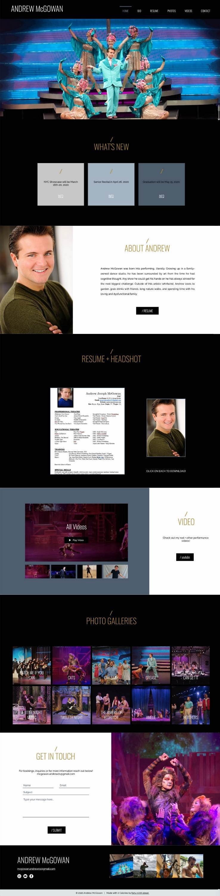 Wix website revamp for andrew mcgowan by bridgette karl of forty-ninth street
