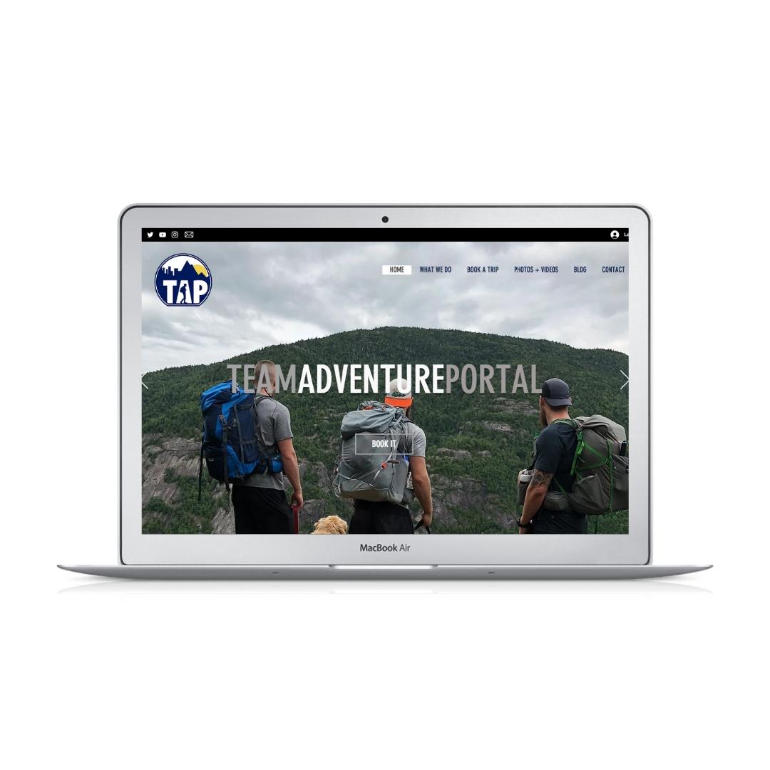 Wix website design for TAP and Team Adventure Portal by Bridgette Karl of forty-ninth street, websites for actors