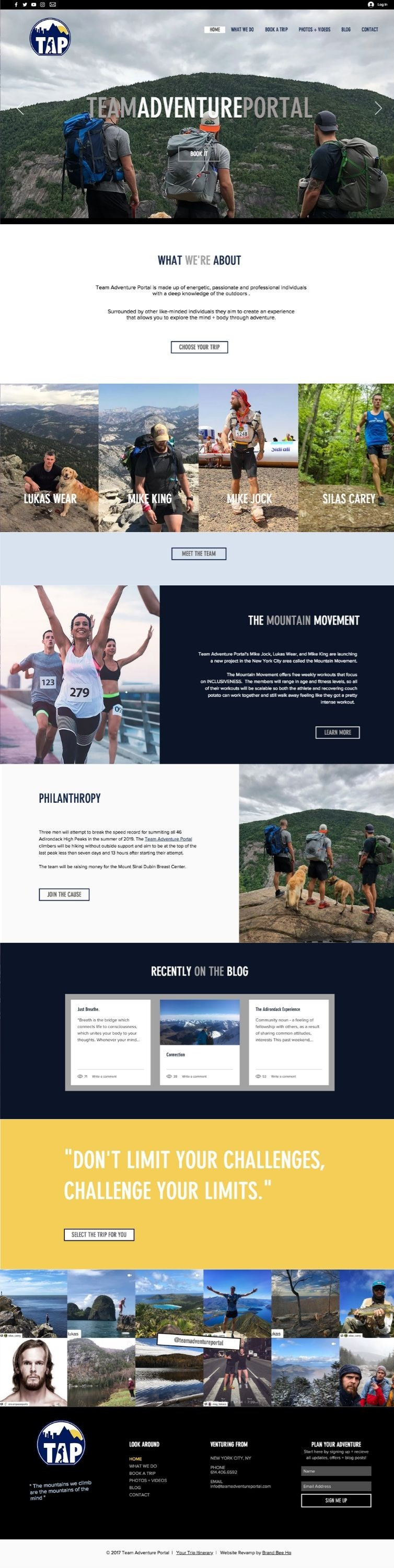 Wix website design for TAP and Team Adventure Portal by Bridgette Karl of forty-ninth street, websites for actors