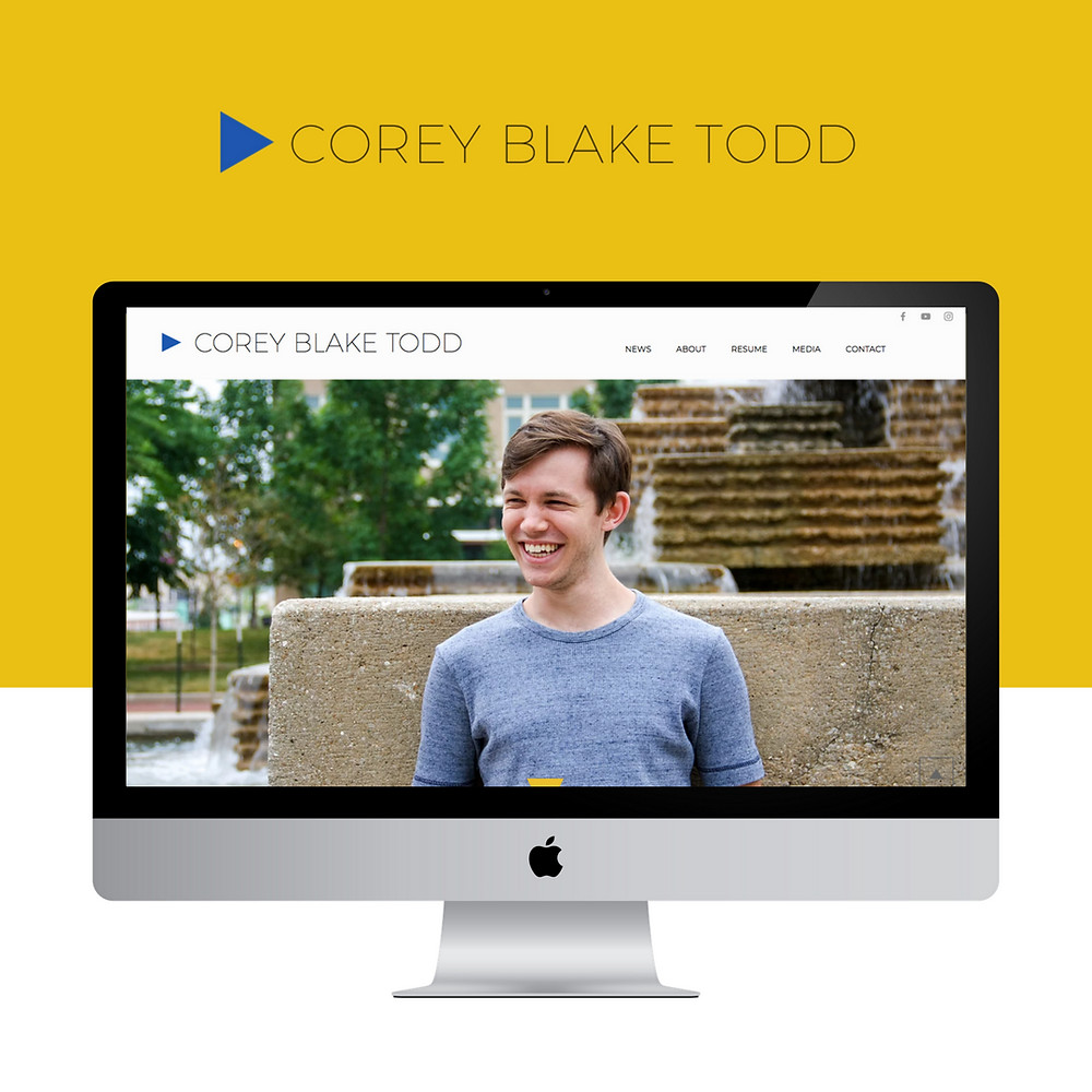 Wix website design for Corey Blake Todd by Bridgette Karl of forty-ninth street, websites for actors