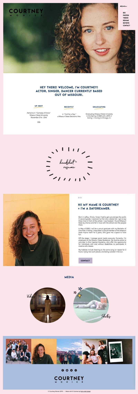 Wix website design for Courtney Monier by Bridgette Karl of forty-ninth street, websites for actors