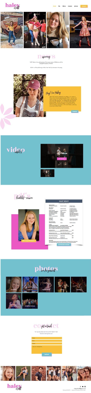 Wix website design for Haley Wolff by Bridgette Karl of forty-ninth street, websites for actors